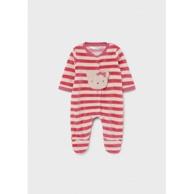 Pyjama en velours  rayé cranberry Mayoral