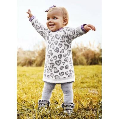 Robe en tricot blanche et grise pour bébé Mayoral