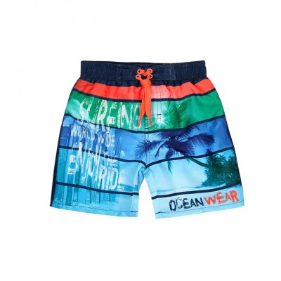 Boardshort bleu et orange Boboli