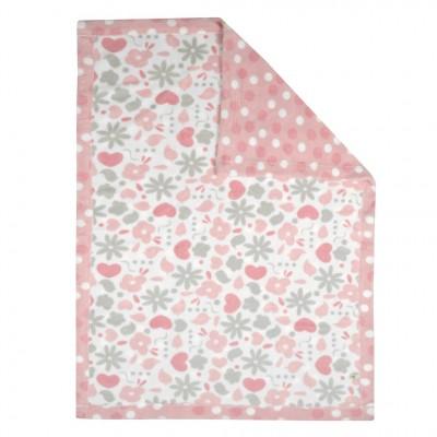 Couverture peluche rose motif Perlimpinpin