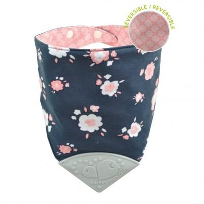 Bavoir dentition fleur rose Perlimpinpin