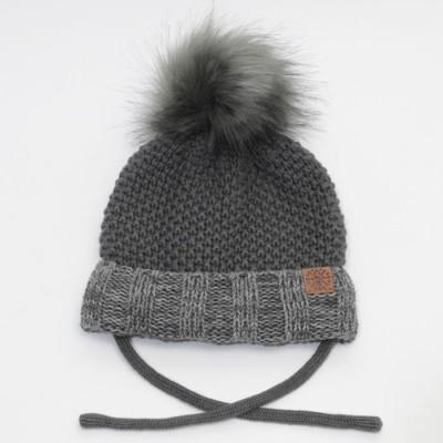 Tuque d'hiver avec cordon charcoal mixte Calikids