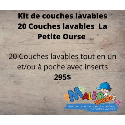 Kit de départ  couche évolutive, 20 couches lavables La Petite Ourse (10-35 lbs)