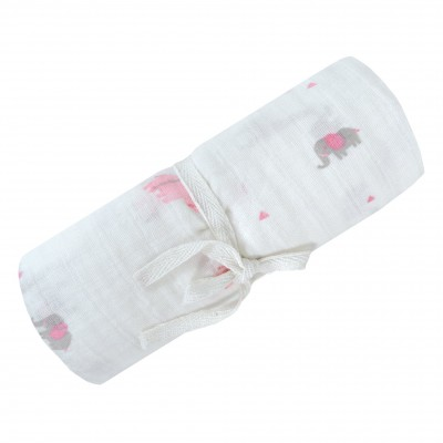 Doudou en mousseline motif Safari rose Perlimpinpin