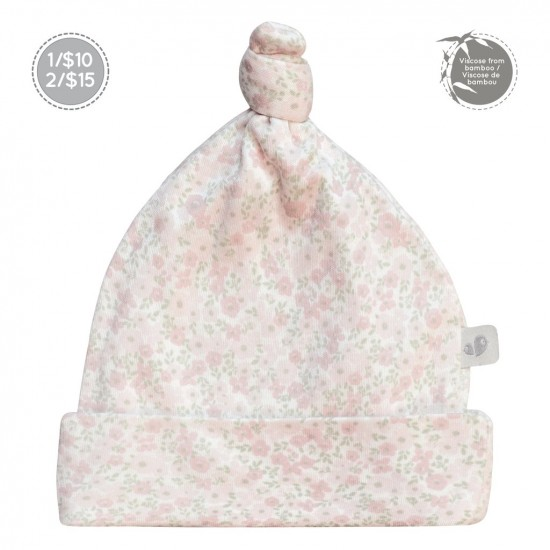 Bonnet nouveau-né 0-3 mois motif fleurs Perlimpinpin