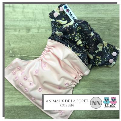 Couche lavable nouveau-né Animaux rose Joka (5-15 lbs)