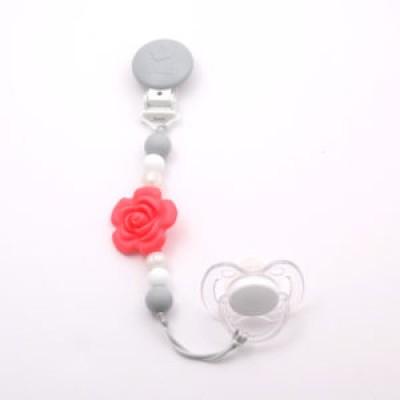 Attache-suce fleur corail, perle, blanc, gris pâle Bulle