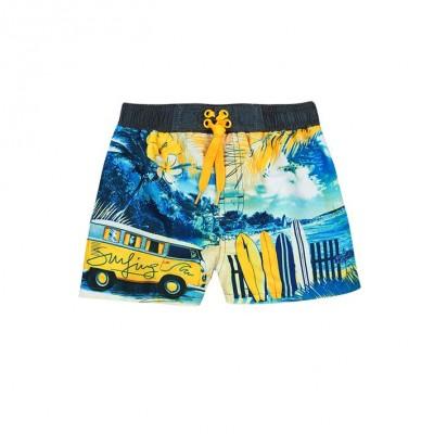 Boardshort jaune et bleu Boboli
