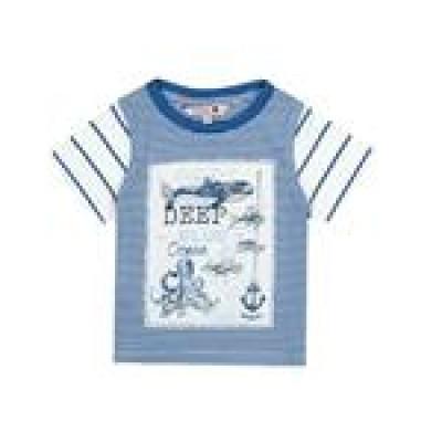 T-shirt bleu pâle manche à rayure Boboli
