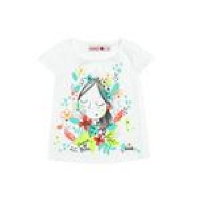 T-shirt blanc motif fillette Boboli