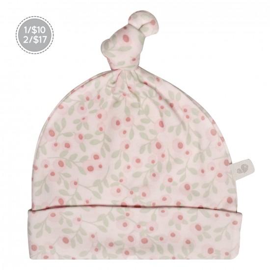 Bonnet nouveau-né 0-3 mois fleurs roses Perlimpinpin