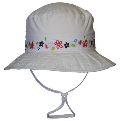 Chapeau UV séchage rapide blanc fleur Calikids