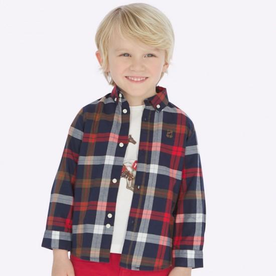 Chemise carreaux taupe/rouge Mayoral