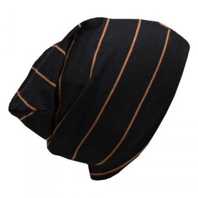 Tuque en coton noire  rayé caramel LP (nouveau modèle)