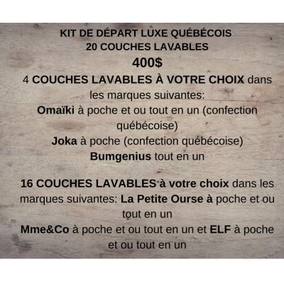Kit de départ  couche évolutive, 20 couches lavables Explorateur de Luxe (8-35 lbs)
