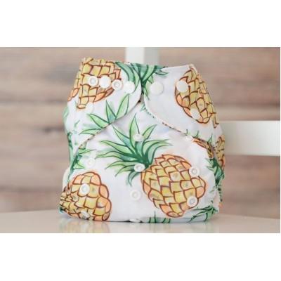 Couche lavable à poche 2.0  Ananas Mme&Co (8-35 lbs)