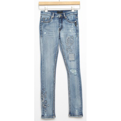 Jeans broderie Amy Silver
