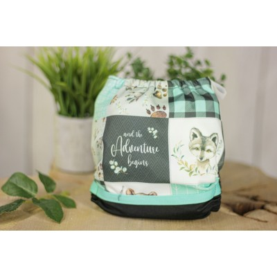 Couche lavable à poche  Lya Woodland plaid turquoise (7-35 lbs)