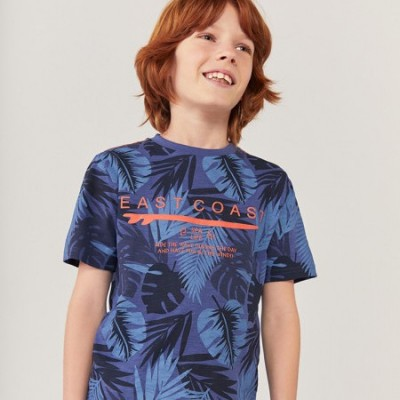 T-shirt bleu feuillage Boboli