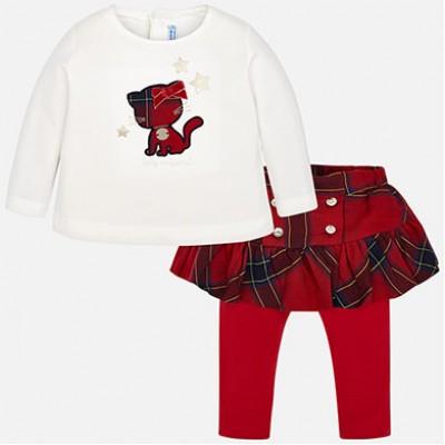 Ensemble jupe/legging et chandail bébé rouge Mayoral