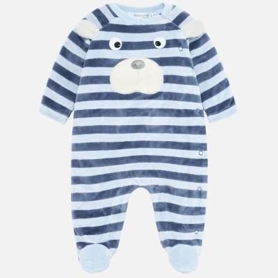 Pyjama en velours rayé bleu Mayoral