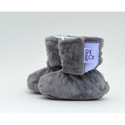 Pantoufle grise bébé O chaud (0 à 6 mois)