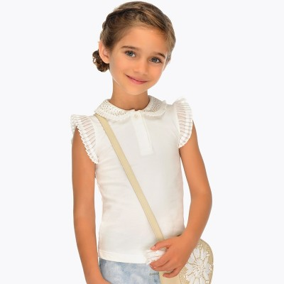 Polo blanc fille Mayoral