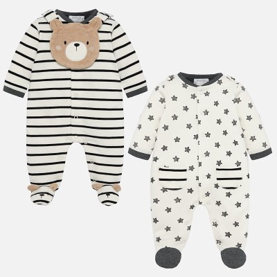 Ensemble de 2 pyjamas en velours crème/noir Mayoral