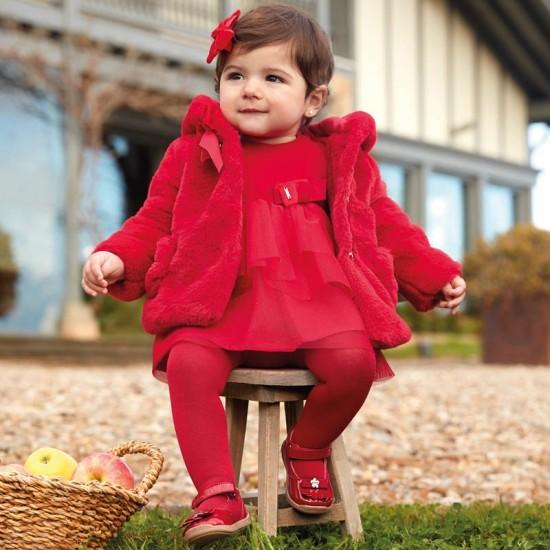 Robe velours combinée tulle rouge bébé Mayoral