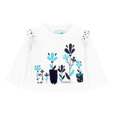 Chandail blanc fleur bleue Boboli