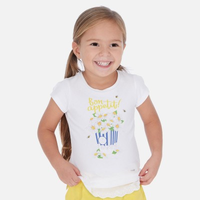 T-shirt blanc marguerite Mayoral