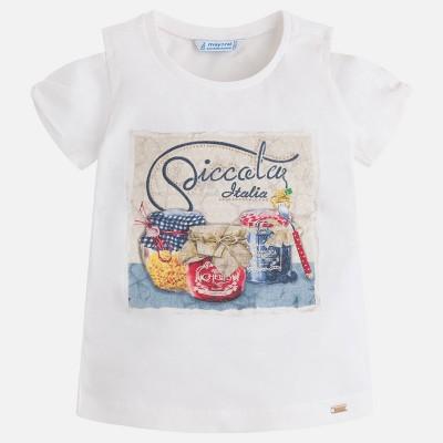 T-shirt blanc motif pots Mayoral