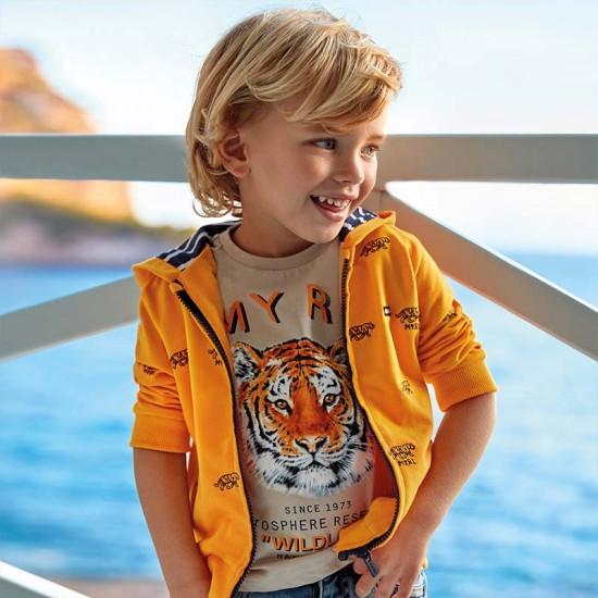 Veste kangourou couleur tournesol motif tigres Mayoral